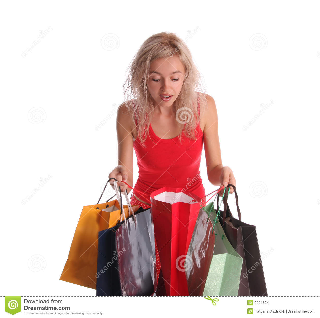 Beautiful Woman With Surprise Looks In A Bag 2 Stock