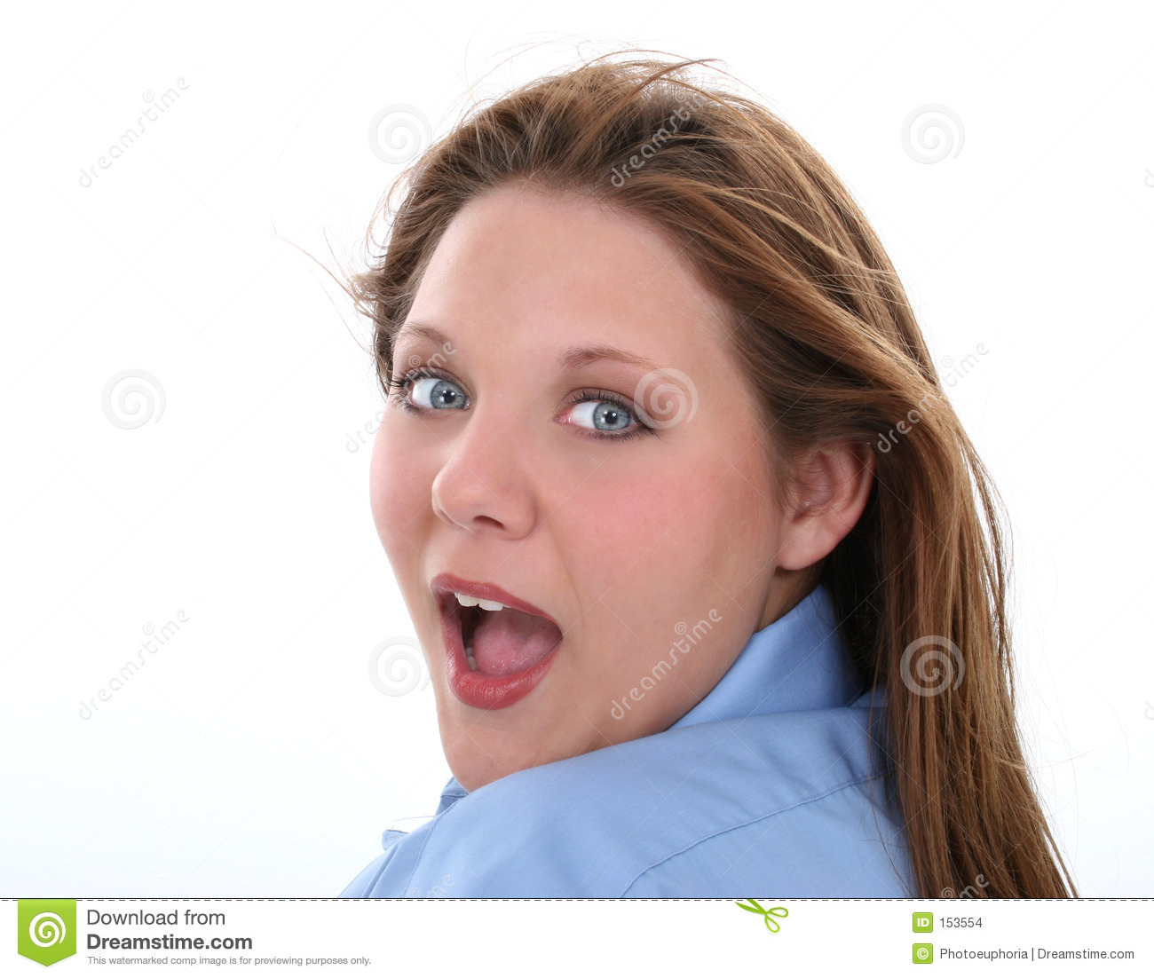 Beautiful Woman With Surprised Expression Looking Over Shoulder