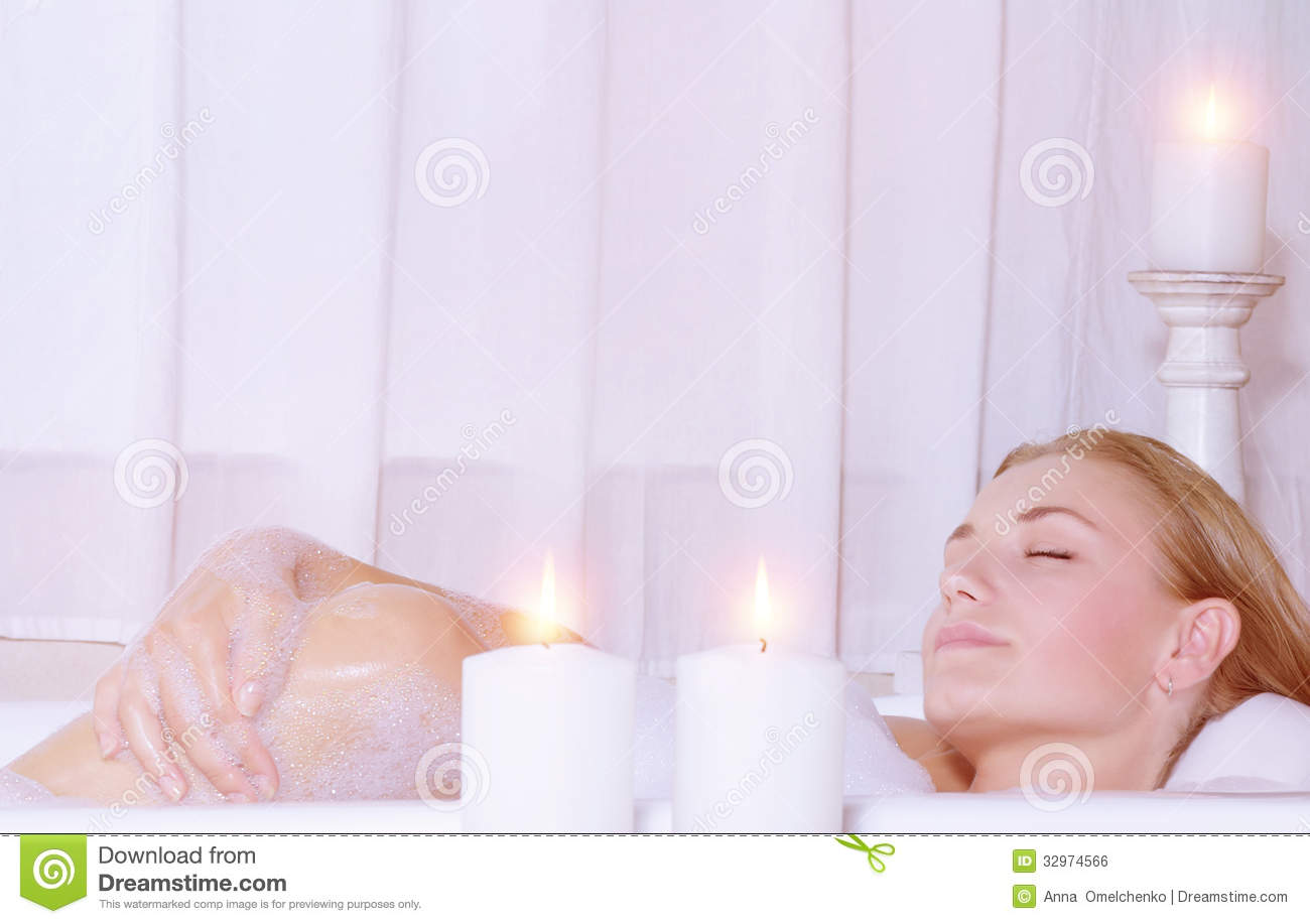 Beautiful Woman Taking Bath Royalty Free Stock Image