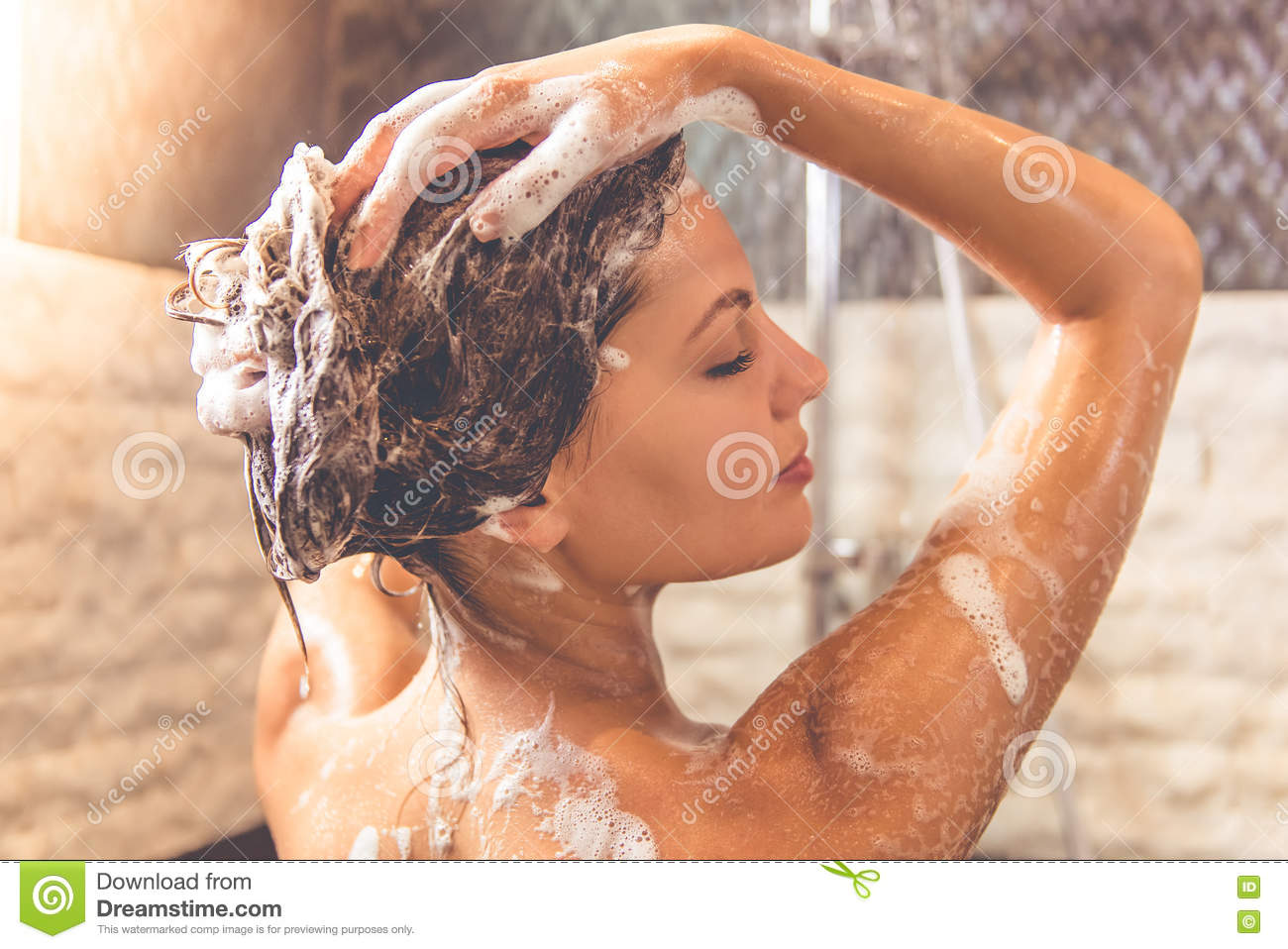 Beautiful Woman Taking Shower Stock Photo - Image of bare, indoors ...