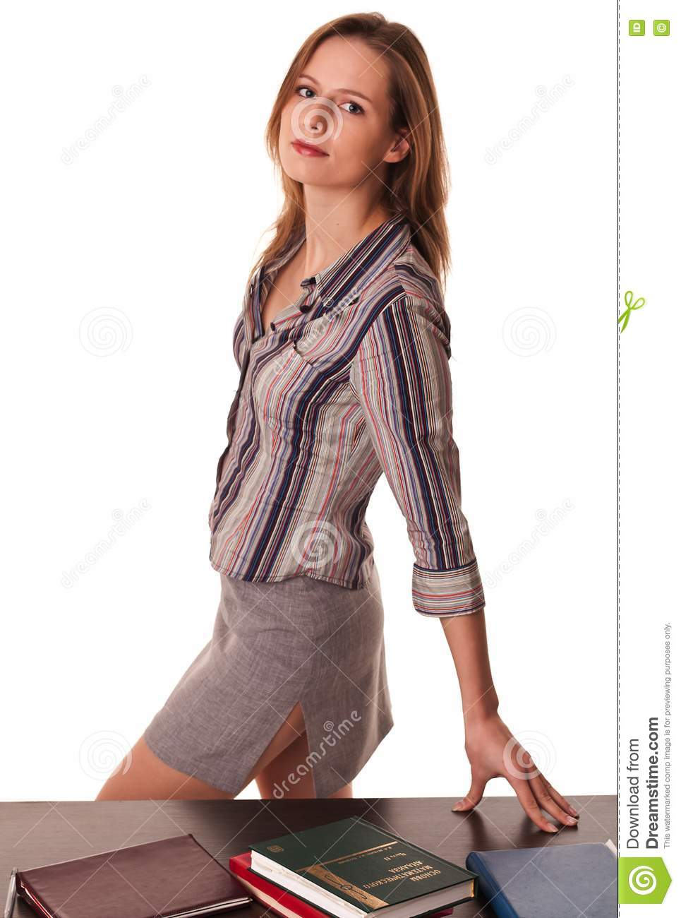 Beautiful Woman Teacher Standing At The Desk Royalty Free Stock Image ...