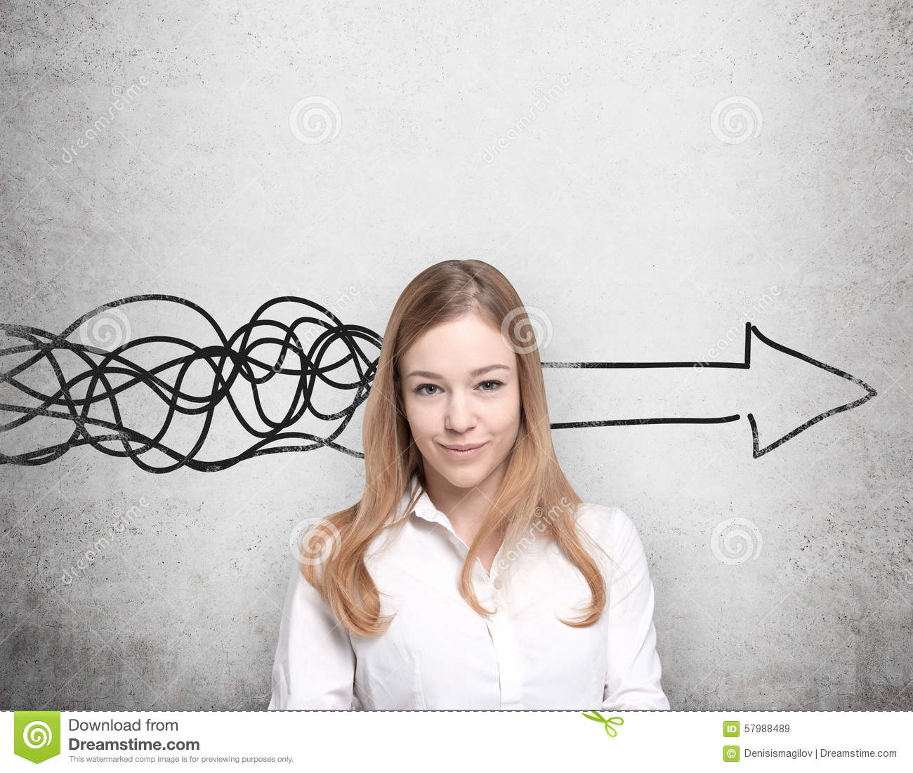 Beautiful woman is thinking about concept of business development. A huge arrow are drawn on the concrete wall.