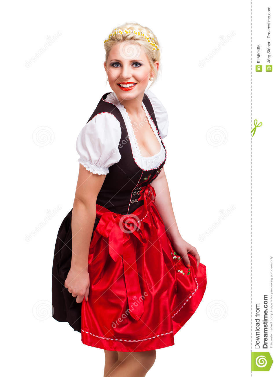 Beautiful woman in a traditional bavarian dirndl