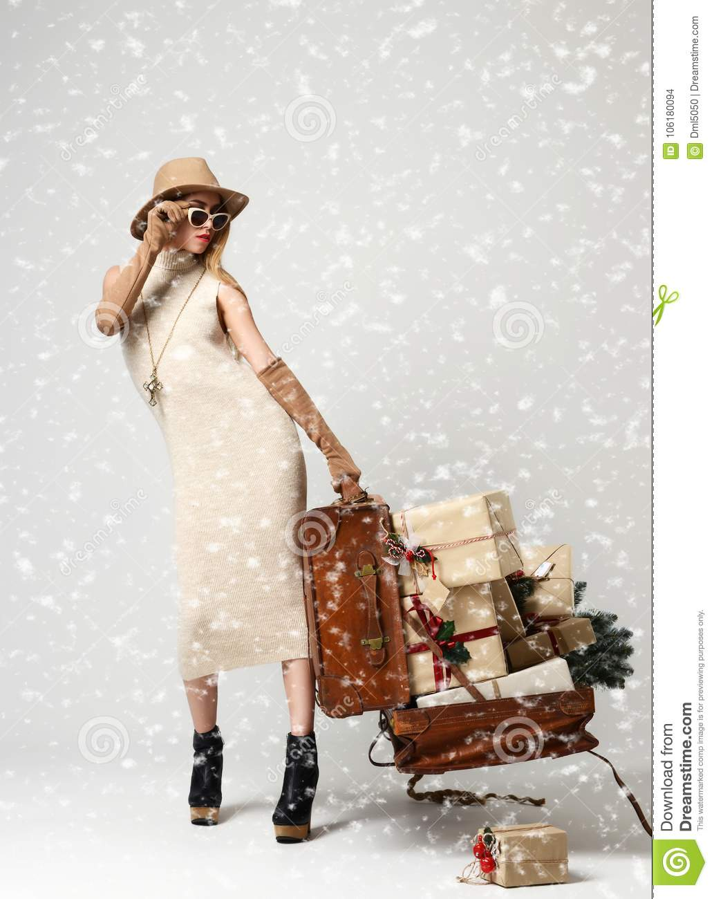Beautiful Woman Traveler In Hat With Big Open Leather Retro Bag Full ...