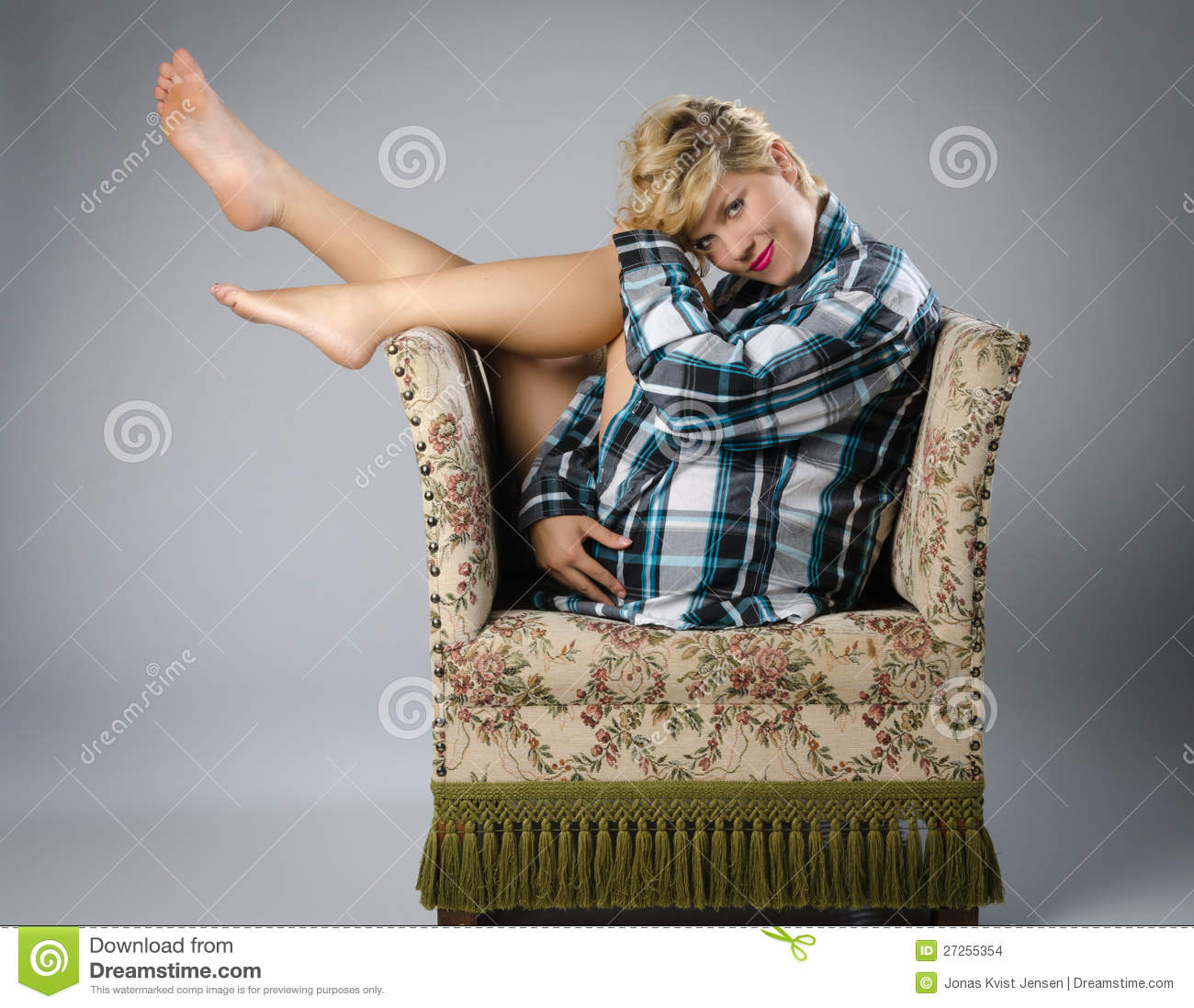 Beautiful Woman On Ugly Old Chair Stock Photo Image Of
