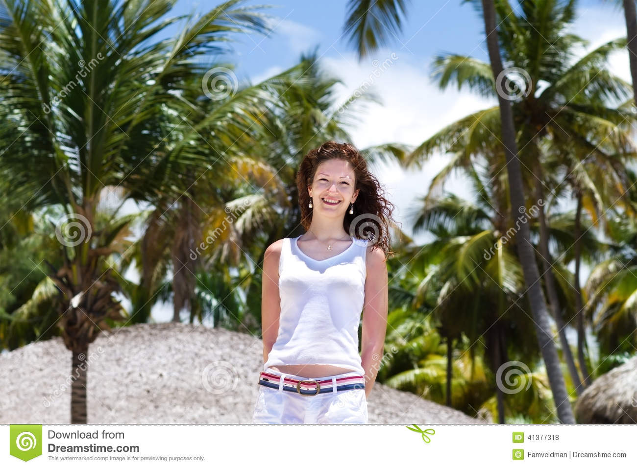 Young Beautiful Woman Under The Palm Tree, Tropical