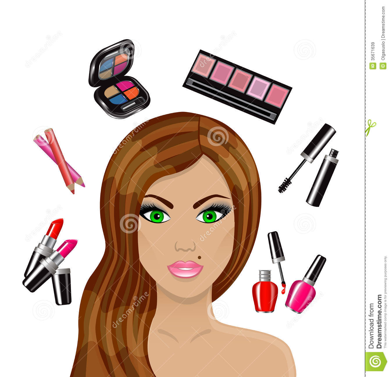 Image result for cartoon image girl putting up makeup