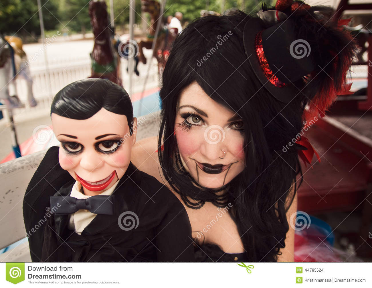Beautiful Woman With Ventriloquist Dummy Stock Photo - Image Of Carnival Black 44785624