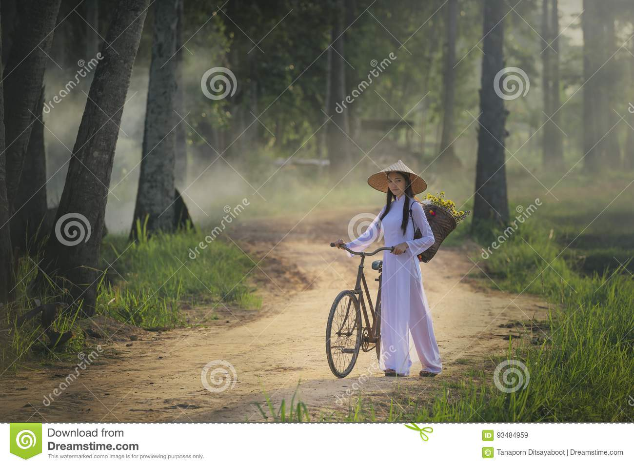 Beautiful woman with Vietnam culture traditional dress,traditional costume ,vintage style,Vietnam