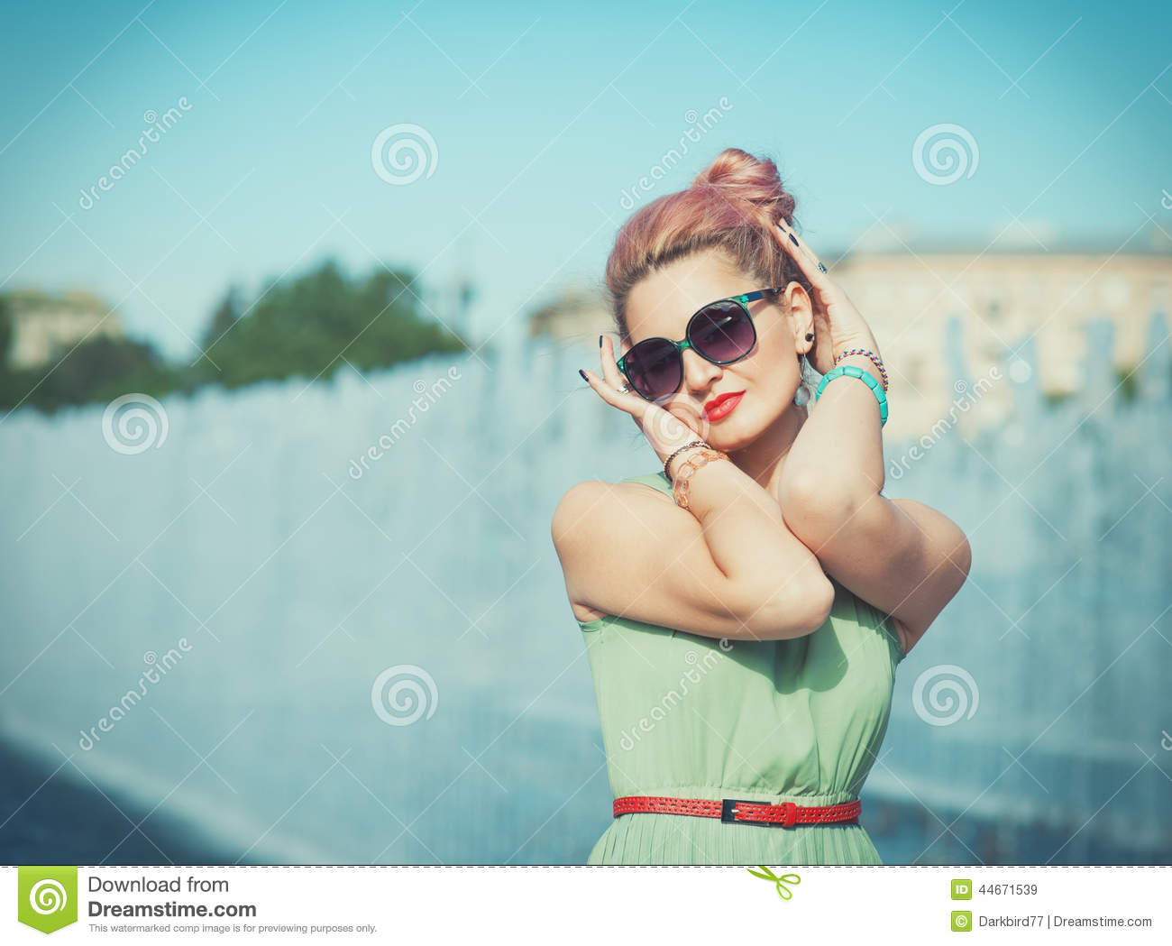 pinup young woman in vintage style clothing stock photography 60271616. Black Bedroom Furniture Sets. Home Design Ideas