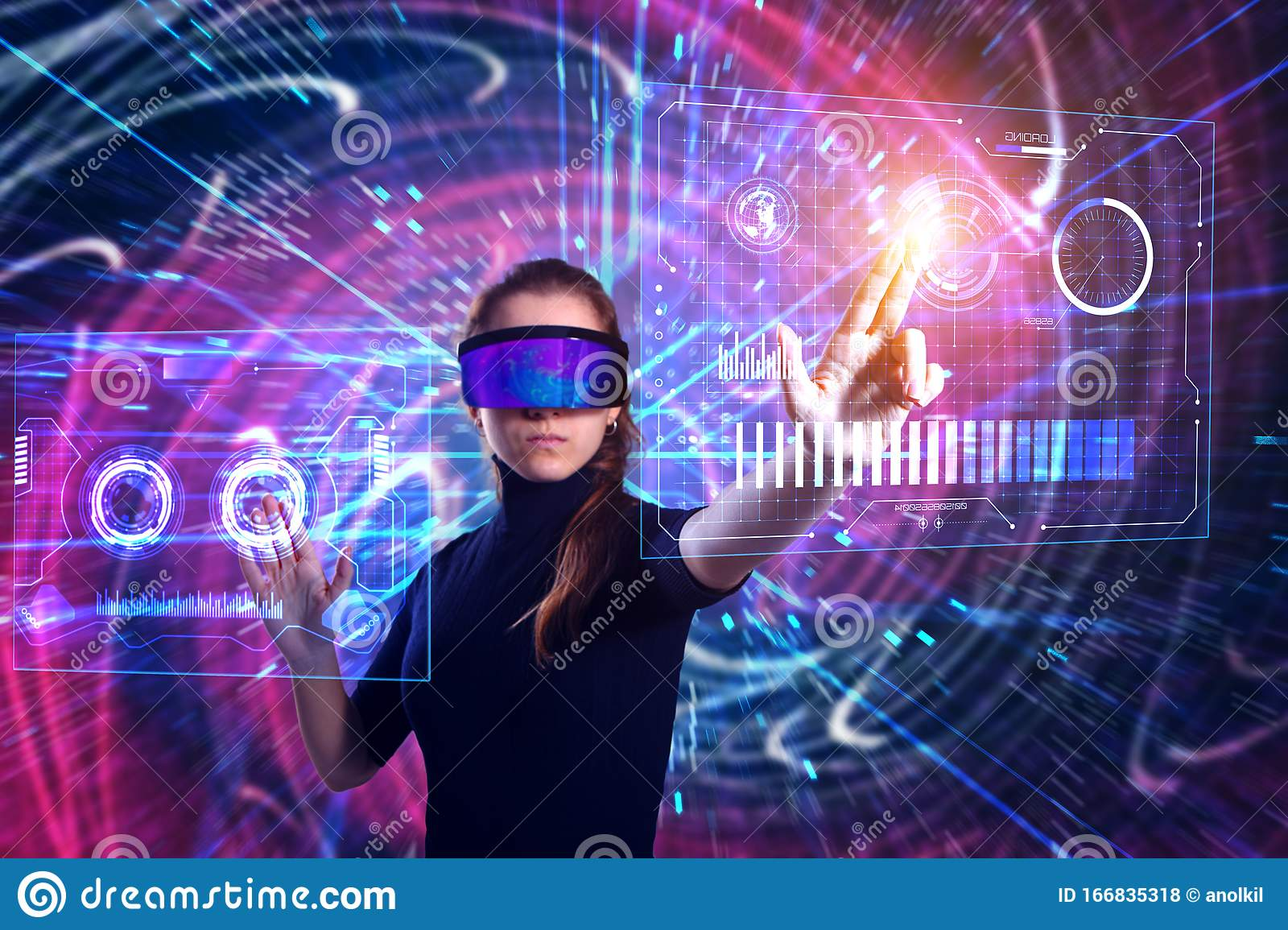 Beautiful Woman In Virtual Reality Glasses On A Futuristic Background. Augmented Reality, Game ...