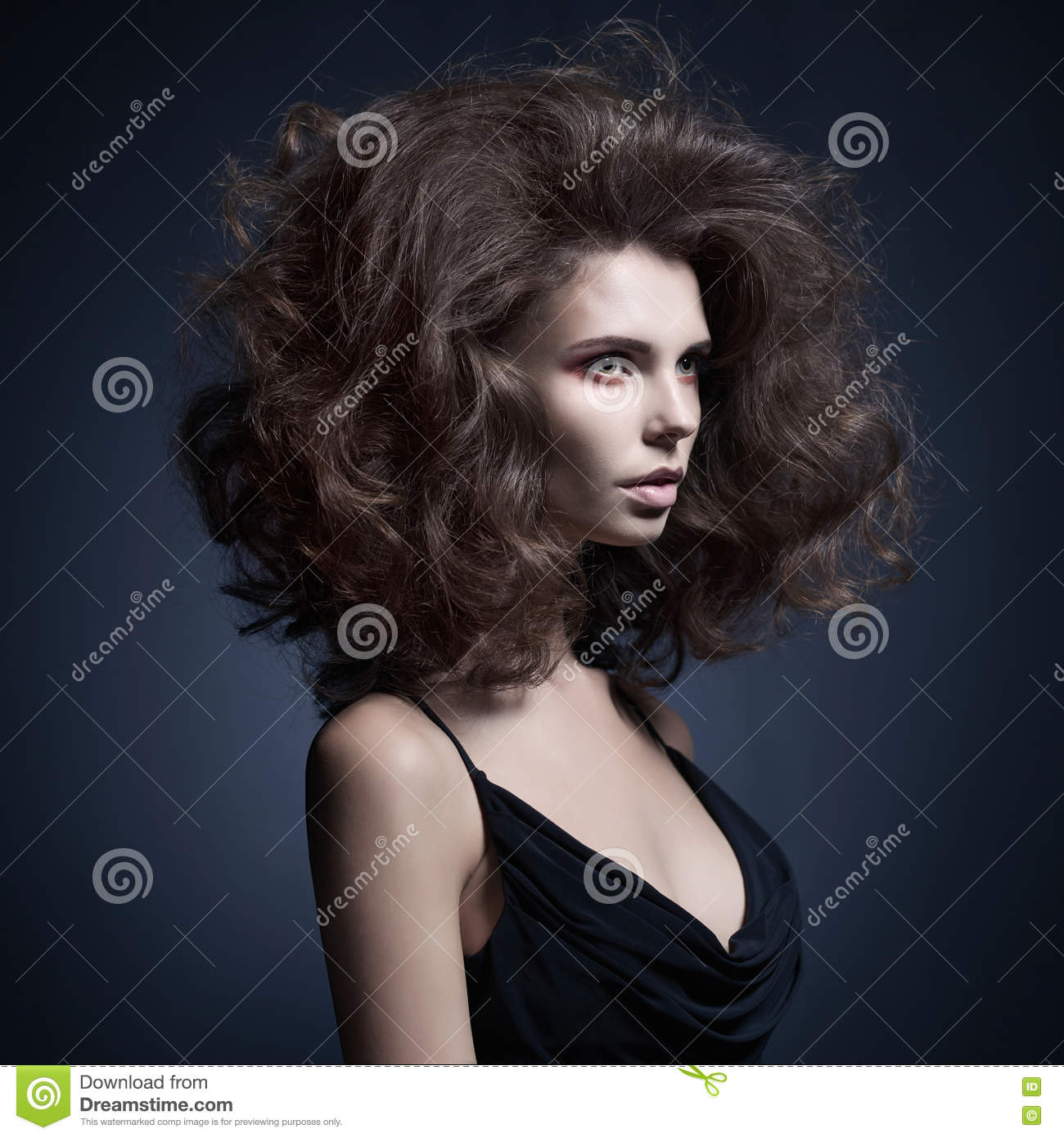 Beautiful Woman With Volume Wavy Hair Stock Photo Image Of