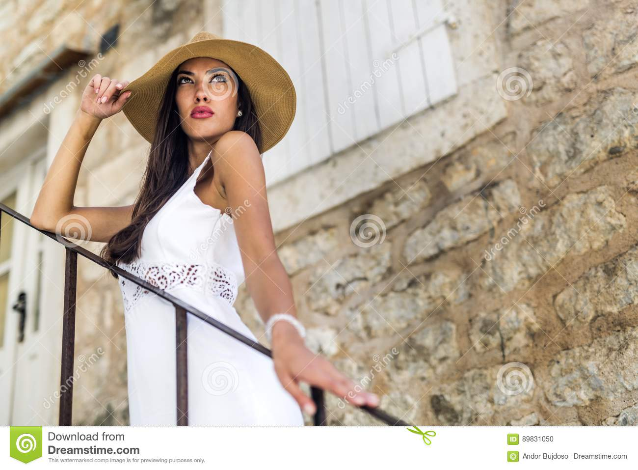 Young Woman Walking Down On Stairs Stock Image - Image of
