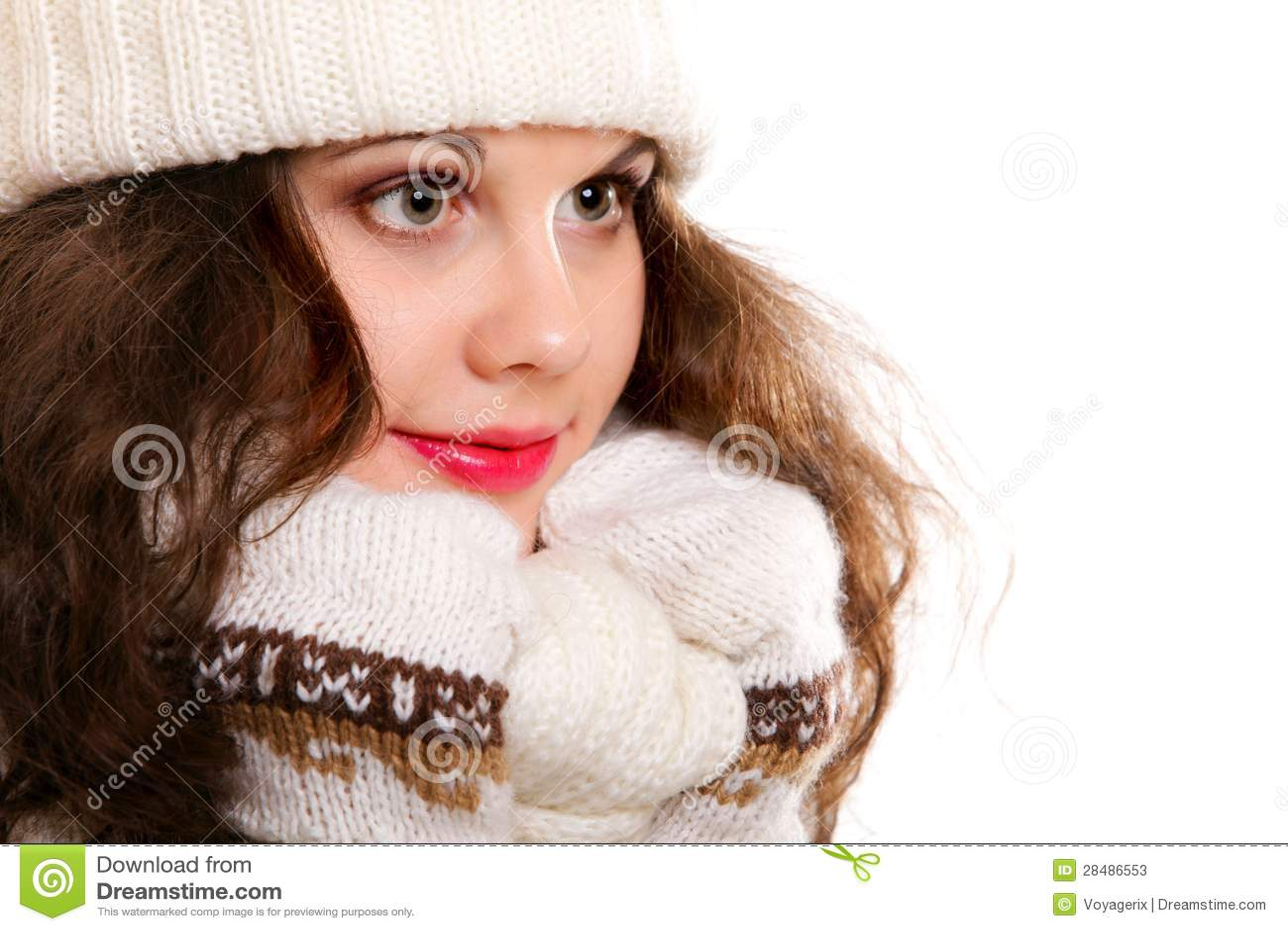 Stock Photos: Beautiful woman in warm clothing winter
