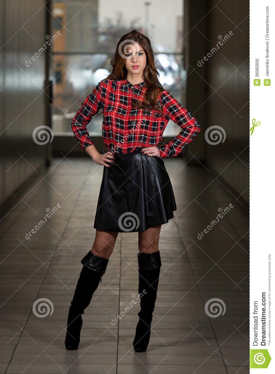 Beautiful Woman Wearing Black Leather Skirt Royalty Free Stock ...