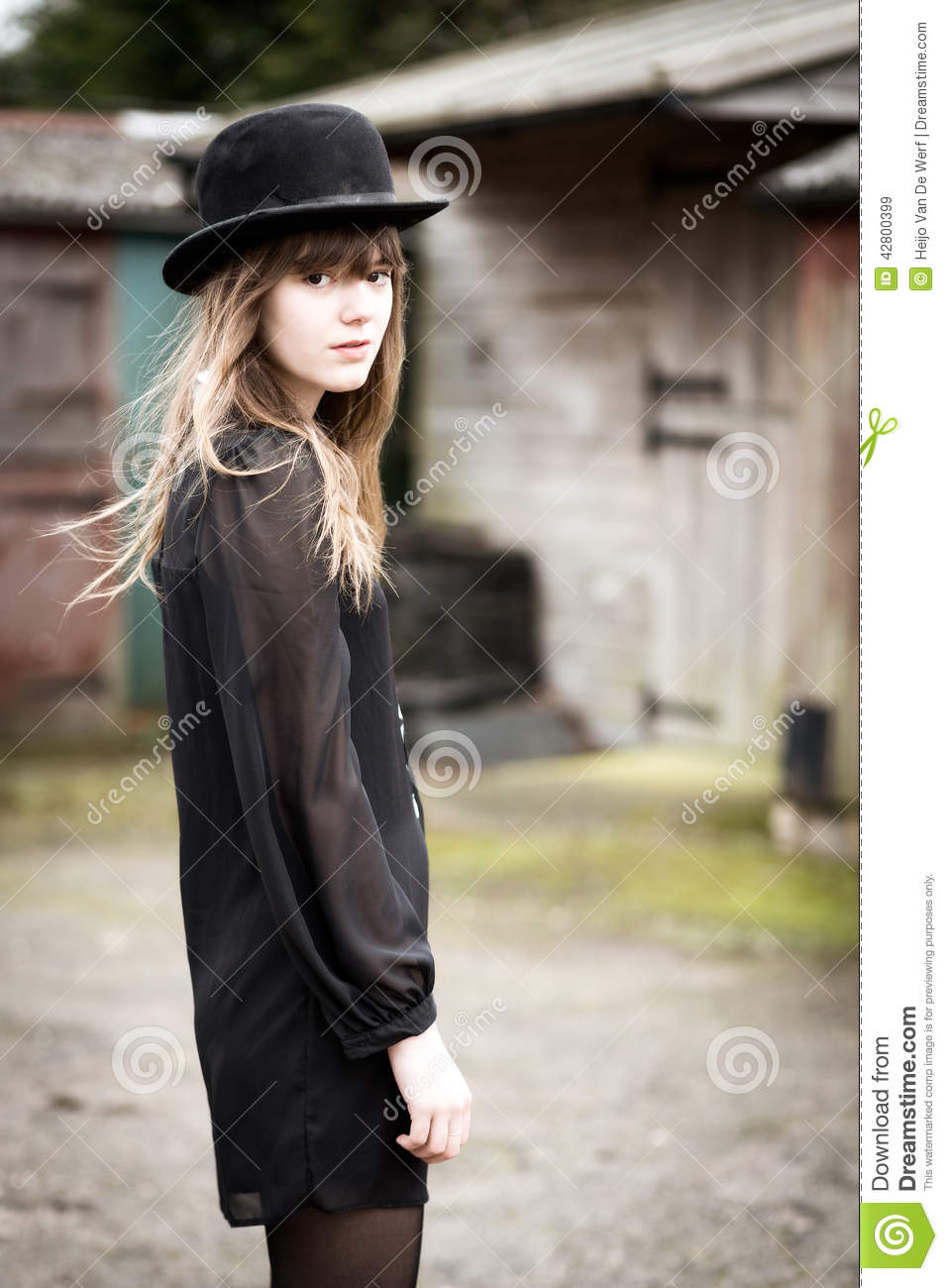 Beautiful Woman Wearing Bowler Hat Stock Image - Image of black ... 81deb60adb87