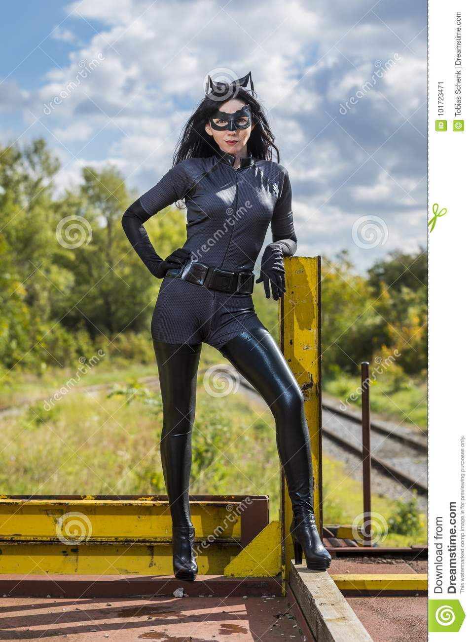 Download Beautiful Woman Wearing Catwoman Costume Stock Image - Image of industrial transportation 101723471 & Beautiful Woman Wearing Catwoman Costume Stock Image - Image of ...