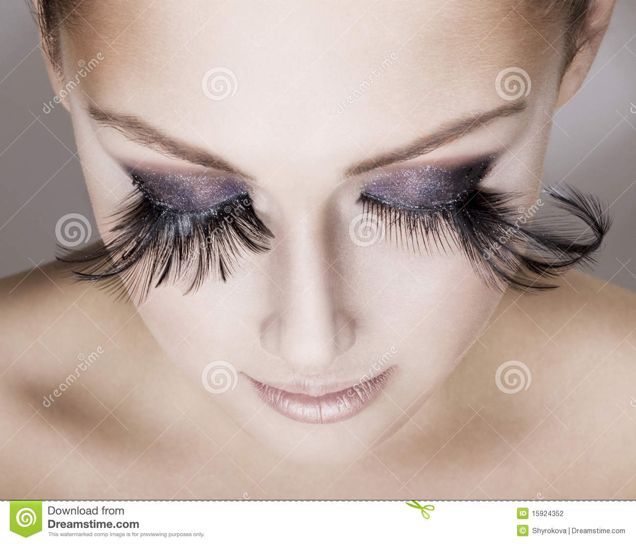 64863ef5b74 Beautiful Woman Wearing False Eyelashes Stock Photo - Image of ...
