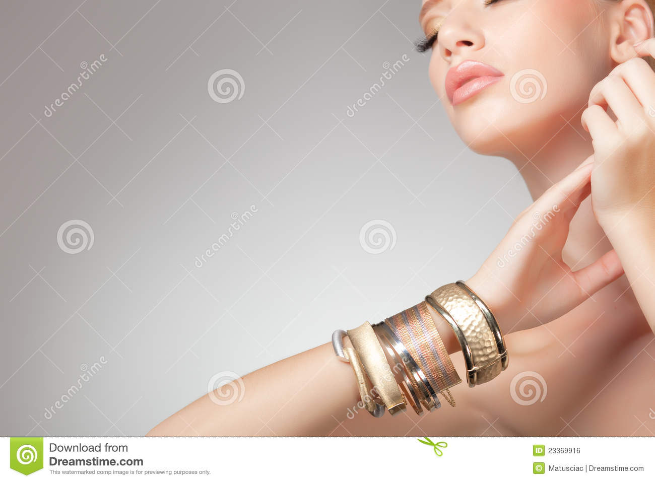 Beautiful Woman Wearing Jewelry Clean Image Royalty Free