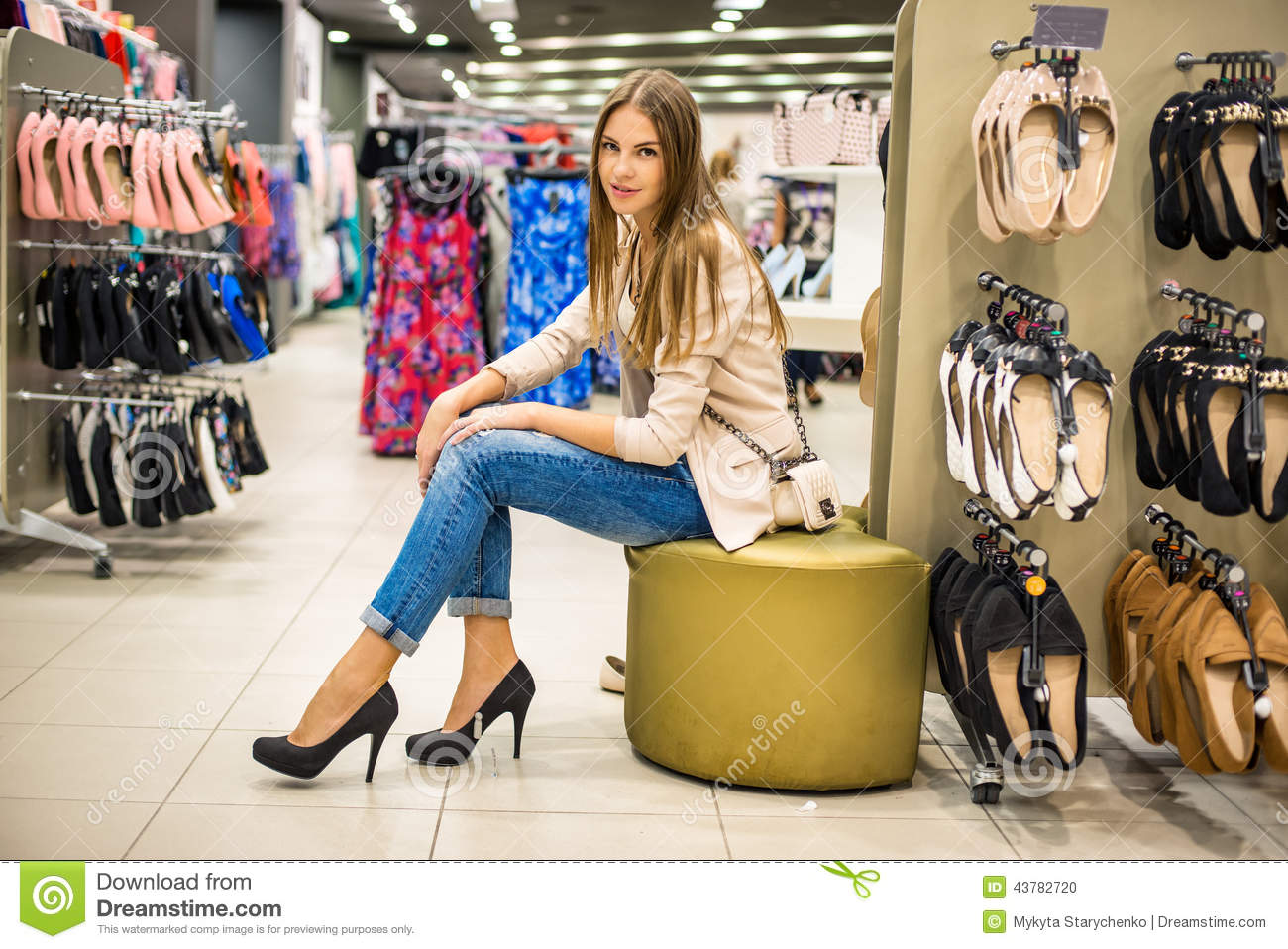 Beautiful Woman Wearing New High Heels Shoes At Shop Stock Photo ...