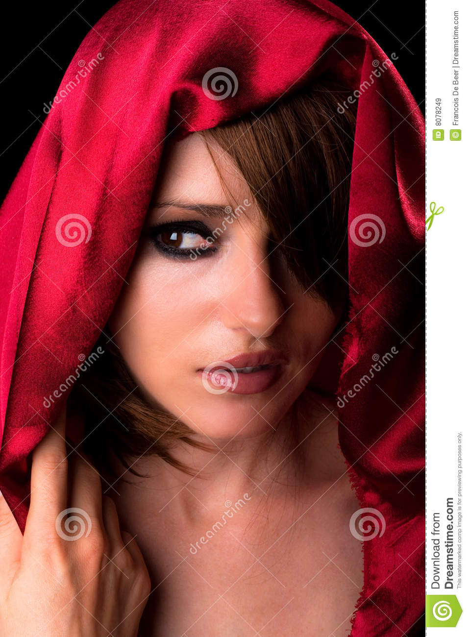Beautiful Young Woman Portrait With Silk Scarf On Gray