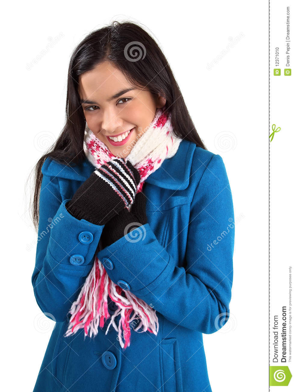 ... Woman Wearing A Scarf And A Winter Coat Stock Photo - Image: 12371010