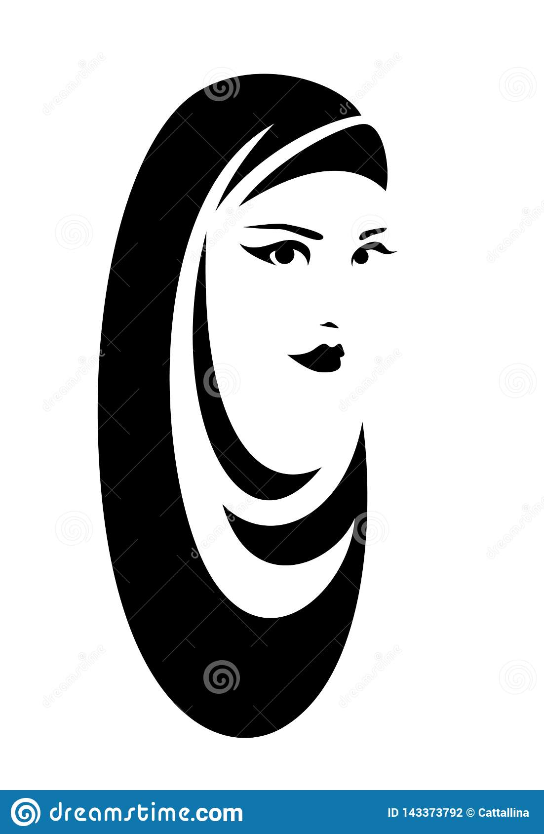 Beautiful woman wearing traditional muslim hijab head covering black and white vector portrait