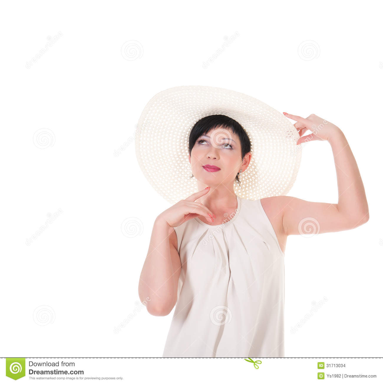 Hat Poses: Beautiful Woman With White Hat Posing. Stock Images