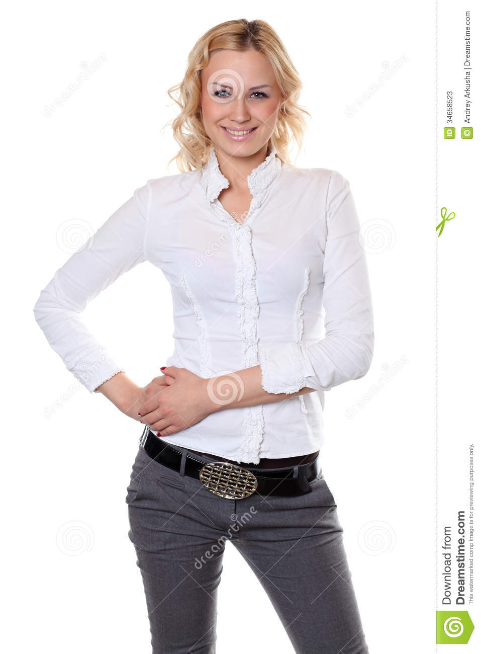Beautiful Woman In White Shirt Stock Photos - Image: 34658523