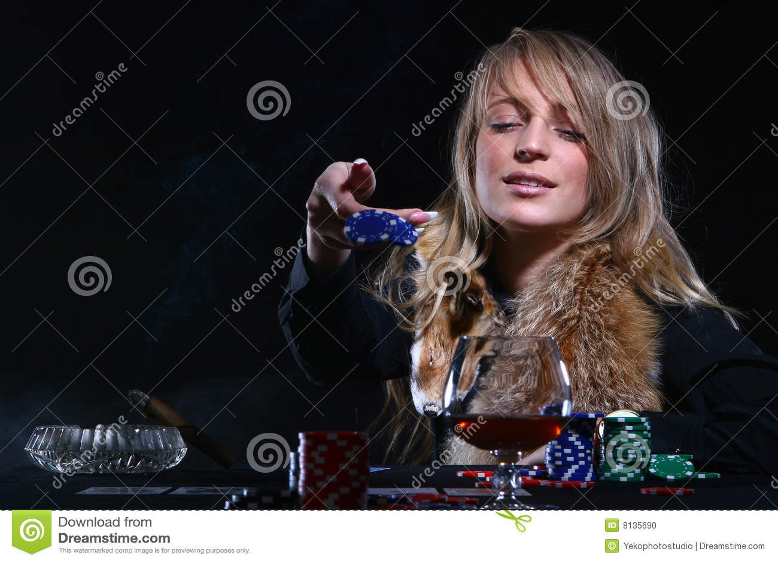 Beautiful woman who playing poker