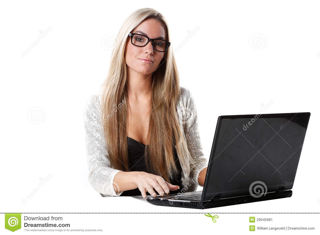 woman with long blond hair works as secretary with a laptop computer