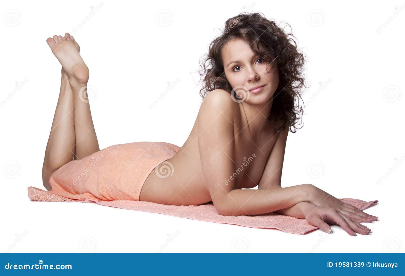 Beautiful woman wrapped a towel