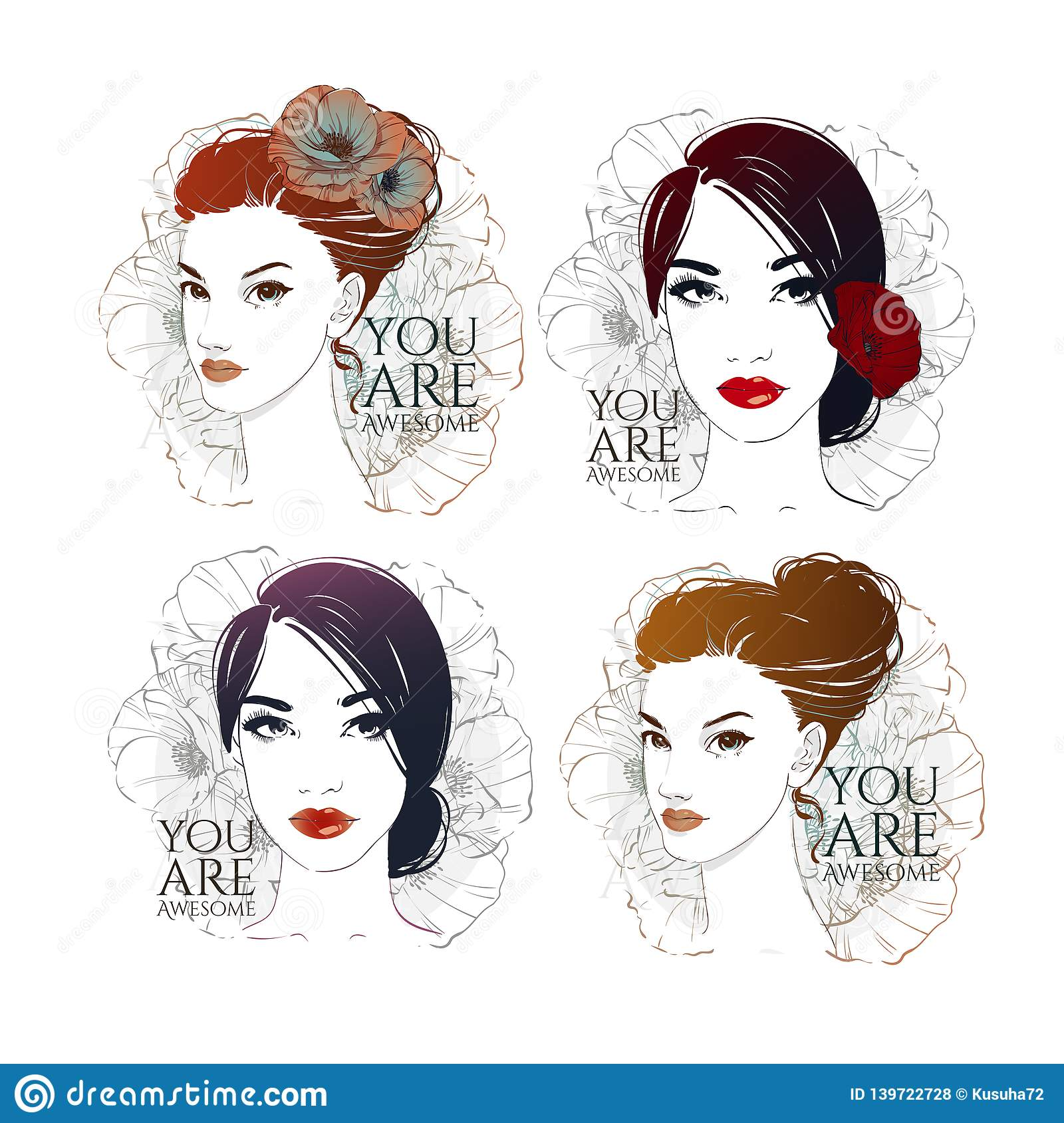 Beautiful Womans Set Portrats With Retro Shell Hairstyle With