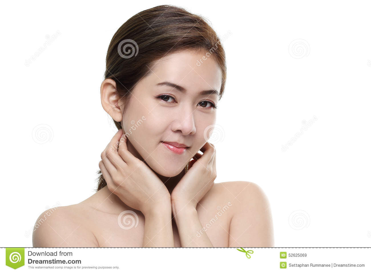 Beautiful women asian happy smiling with good healthy of skin your face on white background