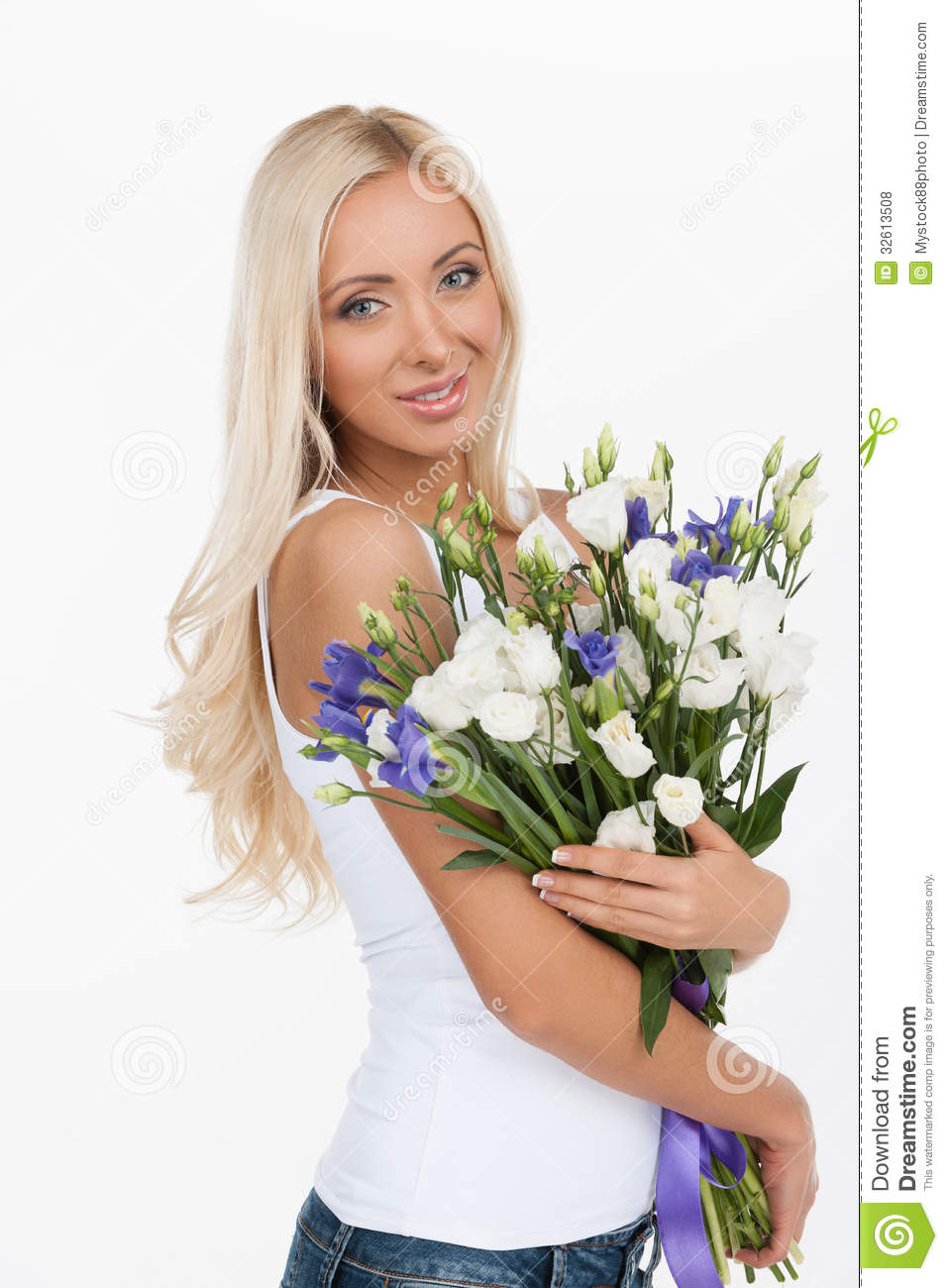 Beautiful women with flowers royalty free stock photos image attractive beautiful flowers holding smiling standing white woman dhlflorist Gallery