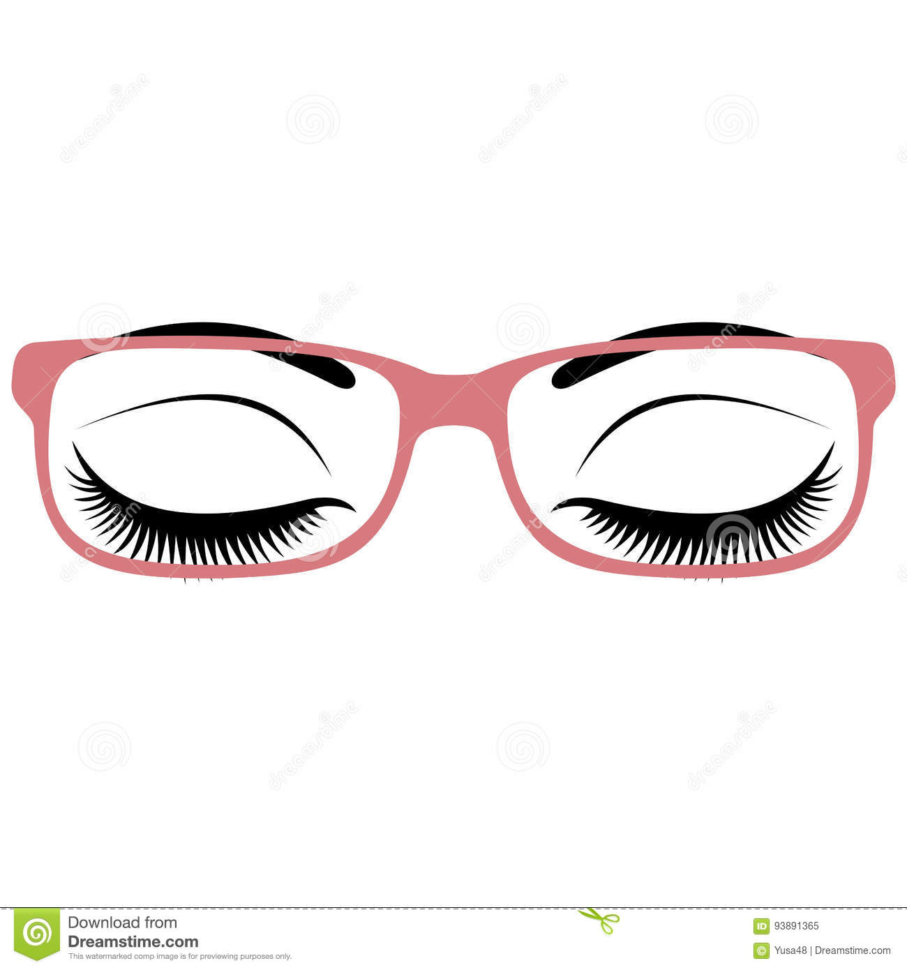 c25721aa3 Beautiful Women`s Closed Eyes With Glasses. Stock Vector ...
