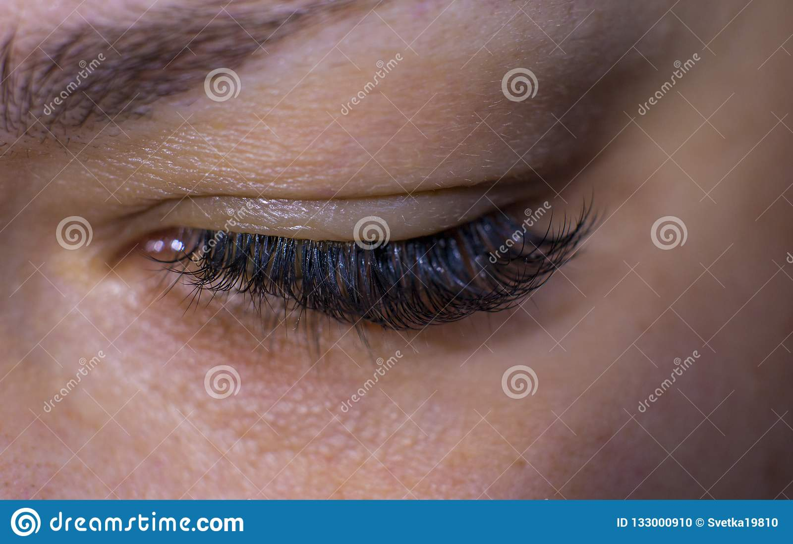 Beautiful women`s eyelashes.