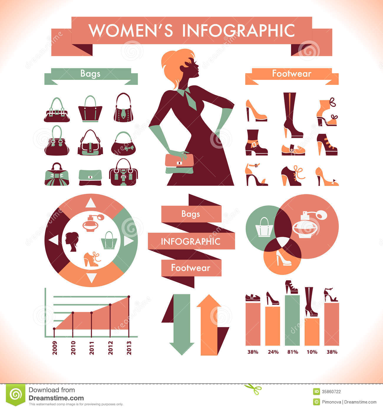 Beautiful Women's Infographic & Symbols Stock Photography - Image ...