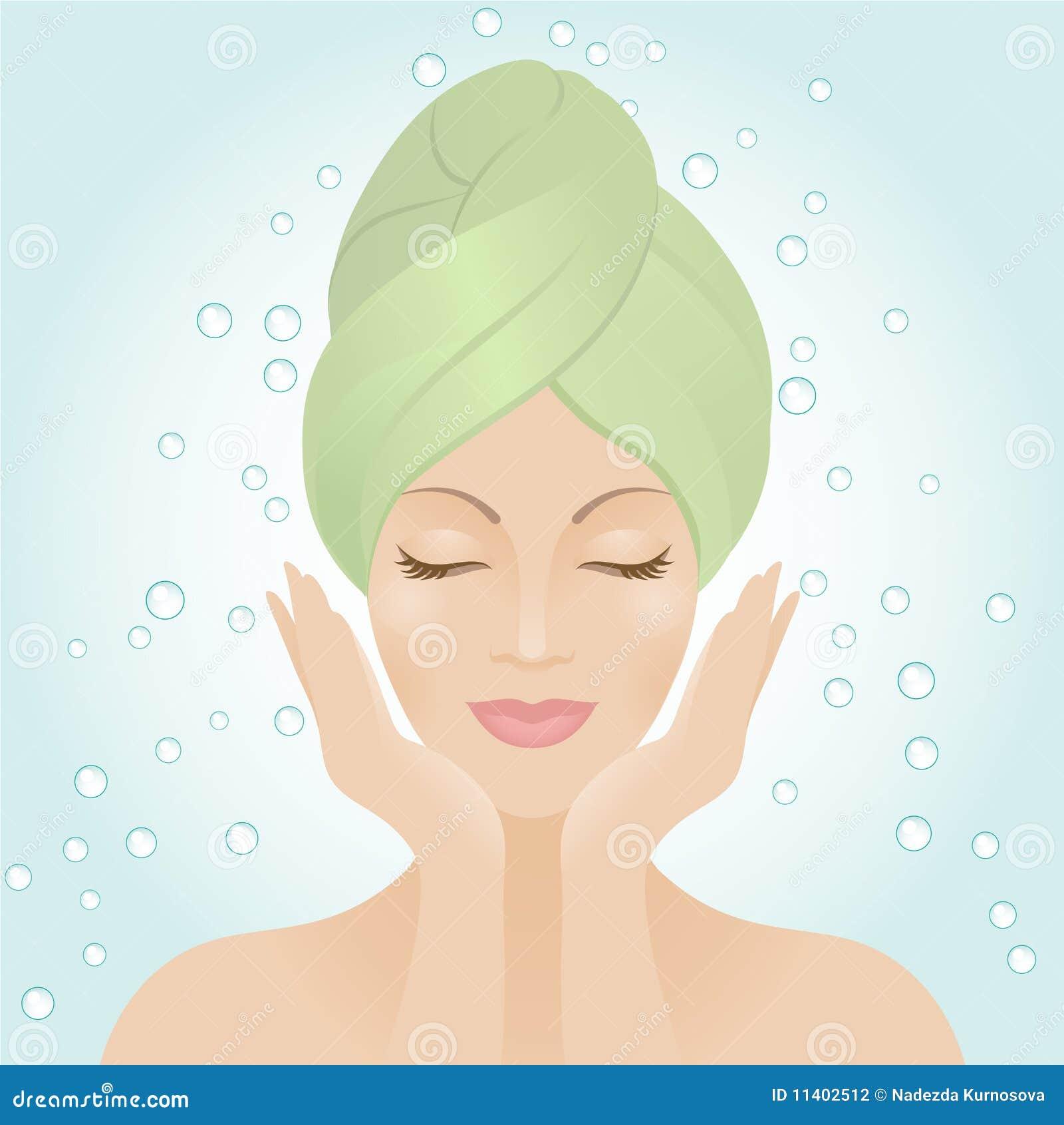 Beautiful women washing her face