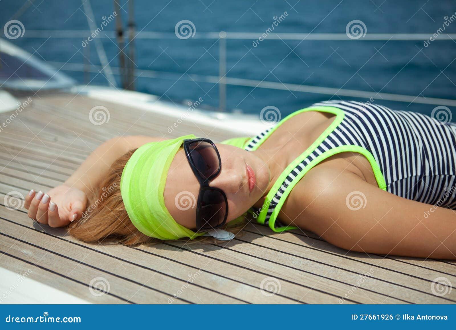 Beautiful Women On Yacht Royalty Free Stock Image - Image: 27661926