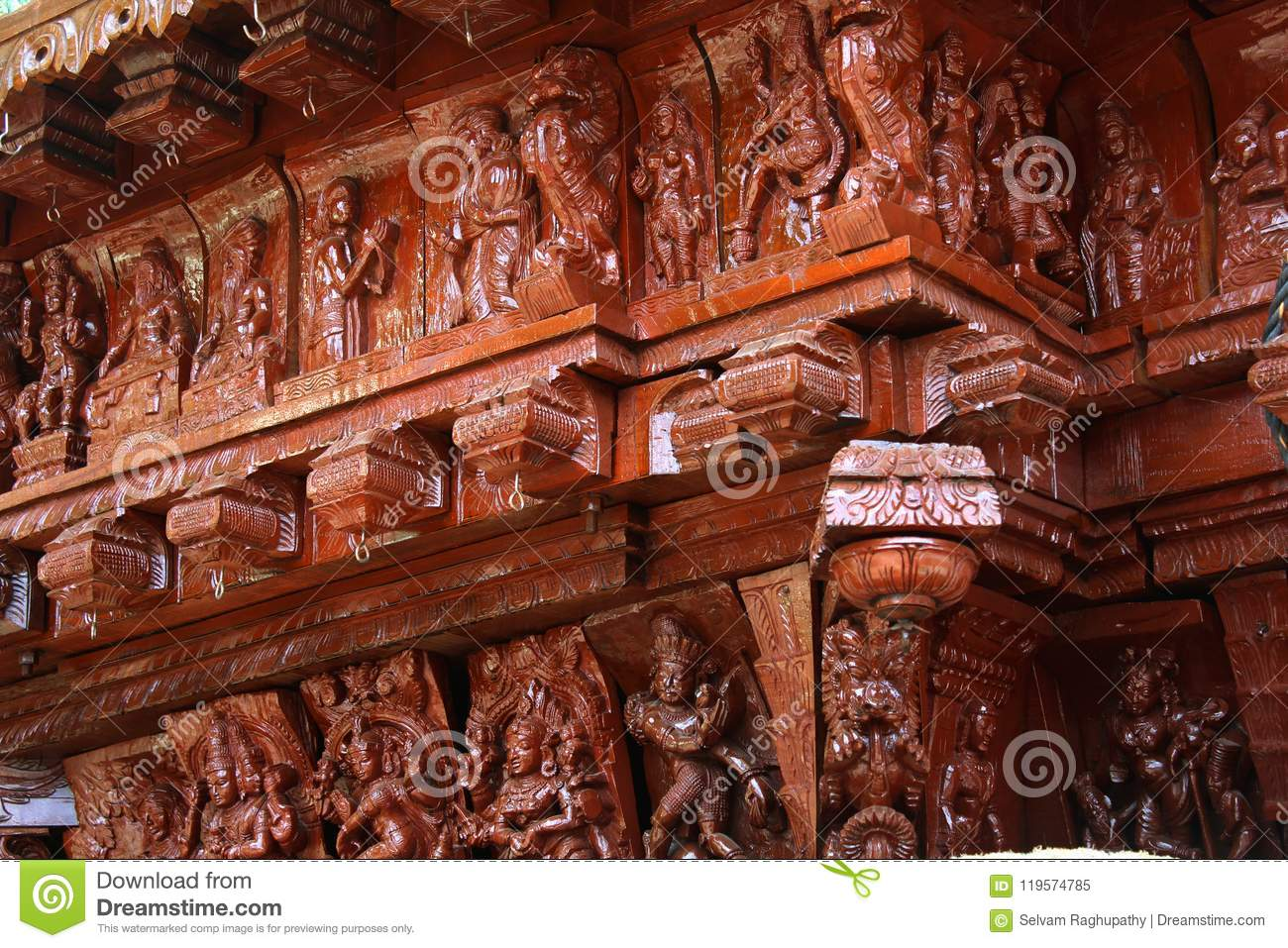 Wood carving ornamental statues on the indian temple car stock