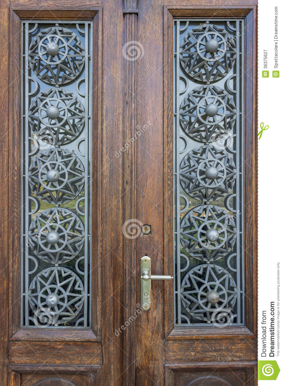beautiful wood door with metallic ornament stock image