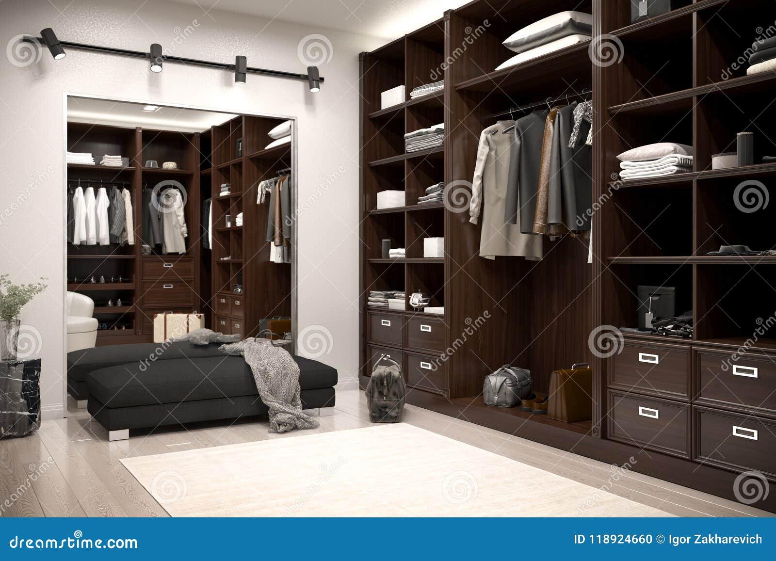 Beautiful wood horizontal wardrobe and walk in closet