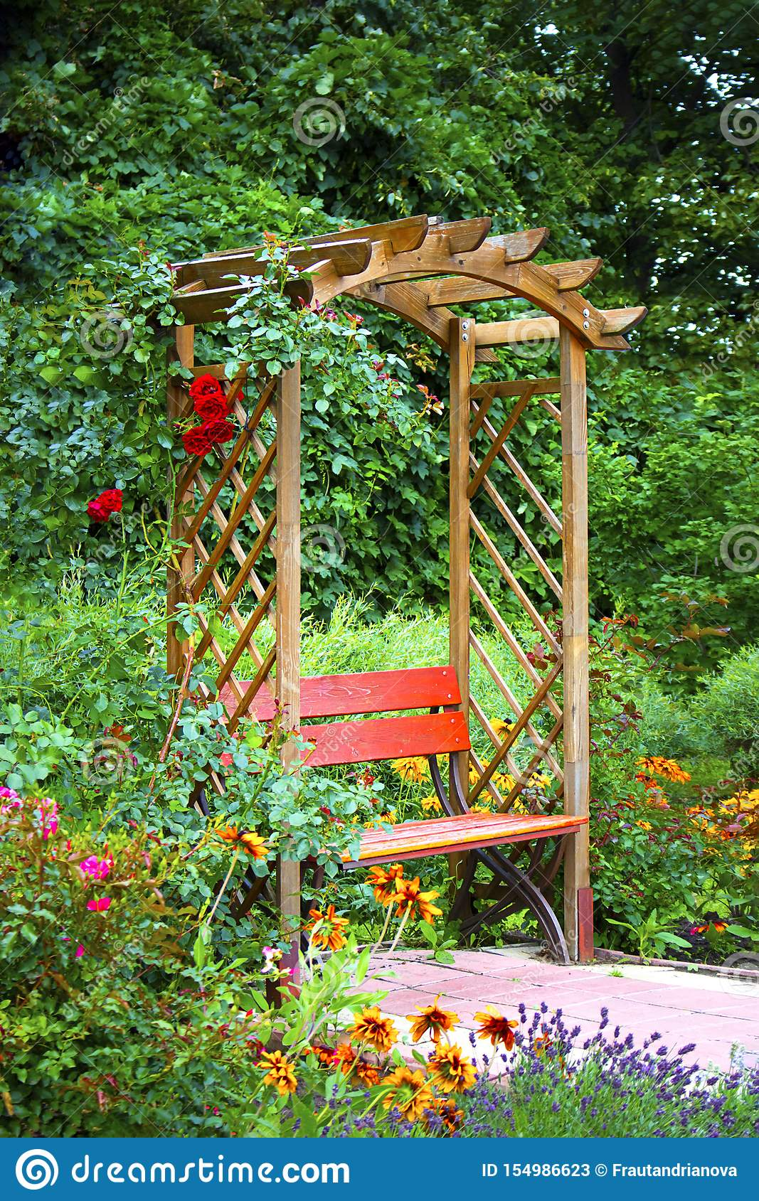Beautiful Wooden Alkove In Green Summer Garden With Bright Flowers For Wallpaper And Design Gardening Wooden Stock Image Image Of Green Natural 154986623
