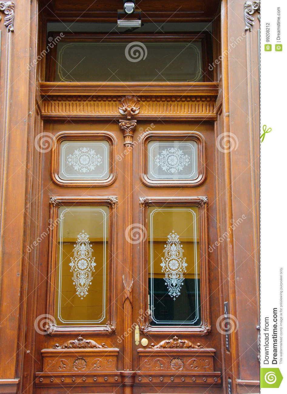 Beautiful Wooden Antique Double Entrance Doors With Glass