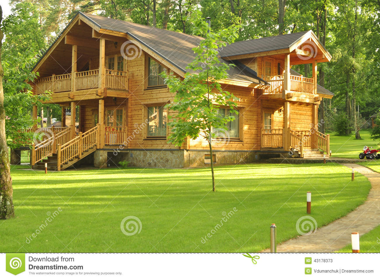 Beautiful wooden house in the forest stock photo image for Dream wooden house