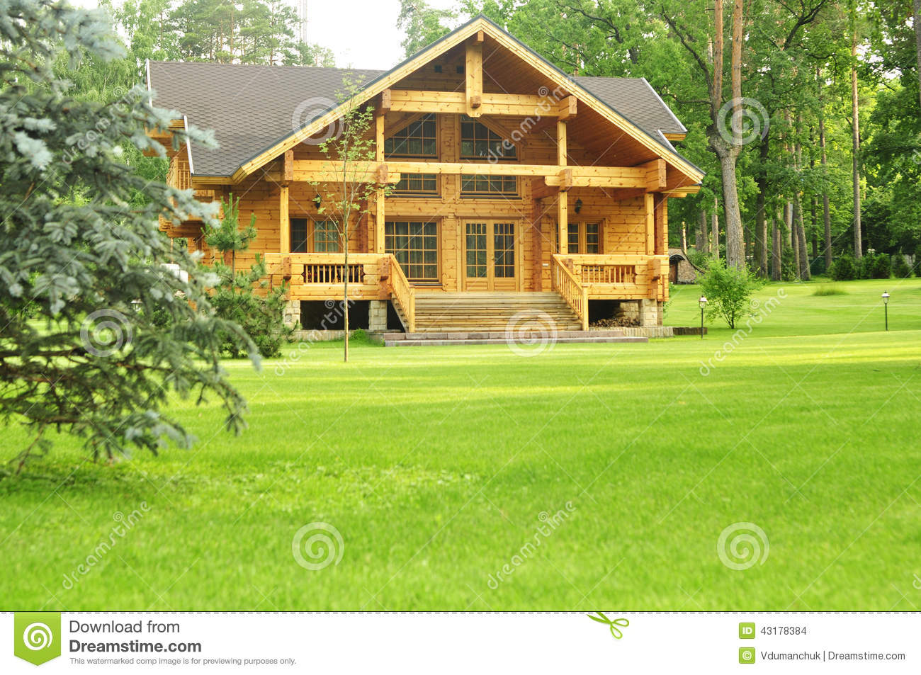 Beautiful wooden house in the forest stock photo image 43178384 Homes with lots of beautiful natural wood