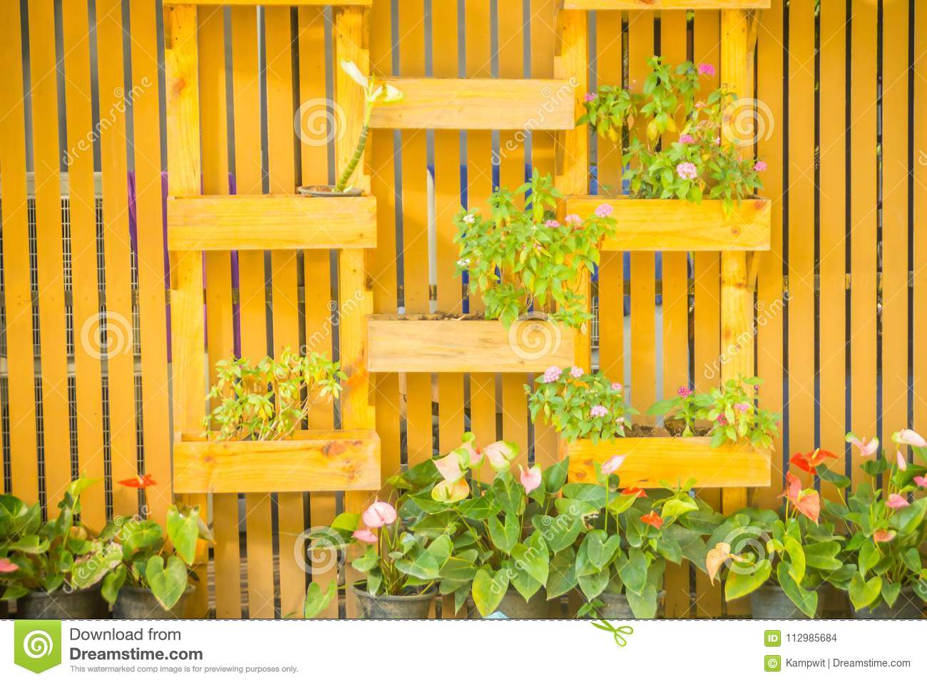 Beautiful wooden vertical garden wall with square ornamental flower pot in vertical style. Decorated vertical garden with small fl