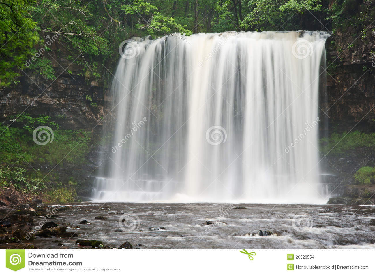 Beautiful image of waterfall in forest with stram and lush green