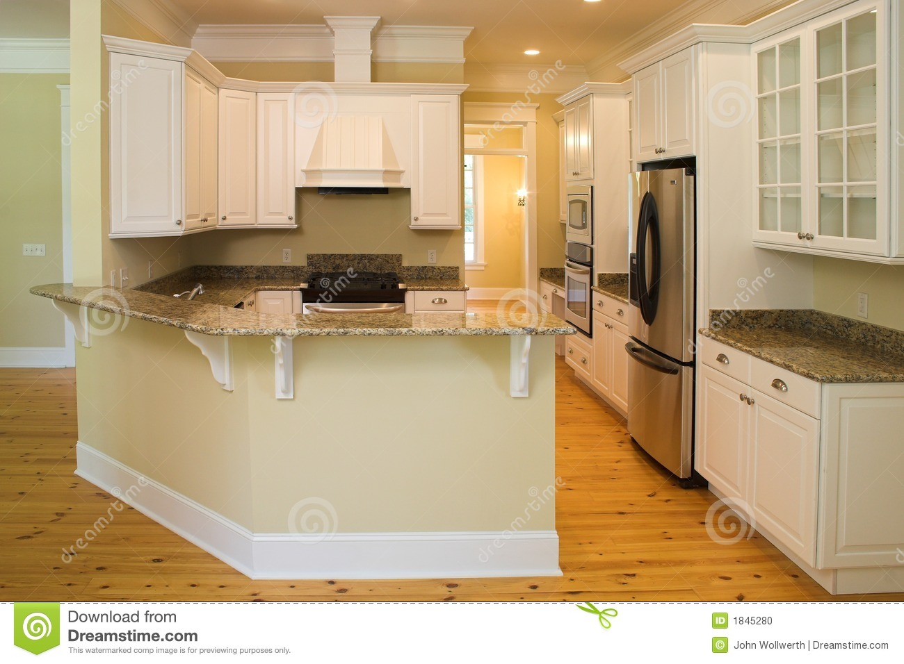 Beautiful Wrap Around Kitchen Stock Photo - Image: 1845280
